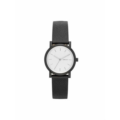 DKNY Womens Round Silver Dial Leather Bracelet Watch [NY2186]