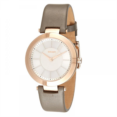 DKNY Stanhope Women's Silver Dial Leather Band Watch - NY2296