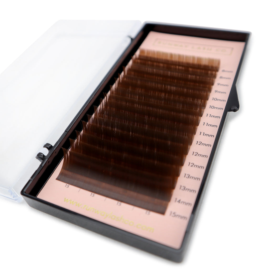Mixed size volume lash trays - Dark brown