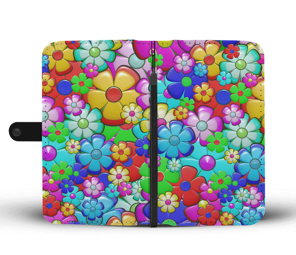 Retro Flower Power Wallet Phone Case