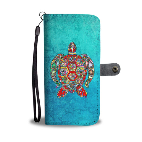 Sea Turtle Design Wallet Phone Case with RFID Protection