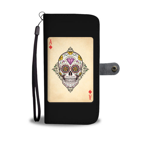 Sugar Skull Ace of Diamonds Wallet Phone Case