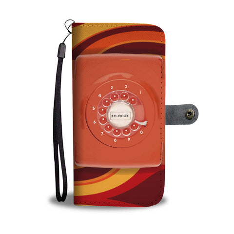 70s Retro Orange Rotary Dial - Wallet Phone Case 004