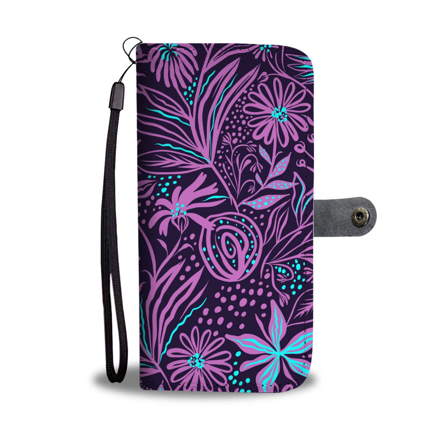 Purple Flower Abstrct Art - Wallet Phone Case