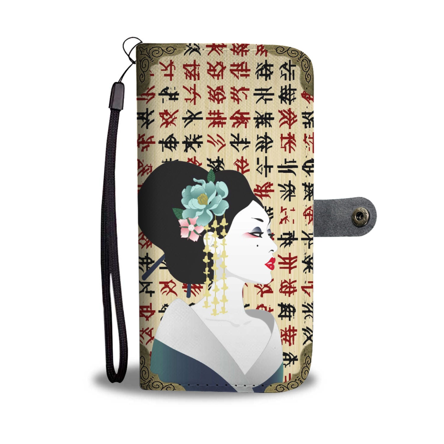 Japanese Geisha Design Wallet Phone Case  3