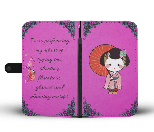 Japanese Geisha Design Wallet Phone Case