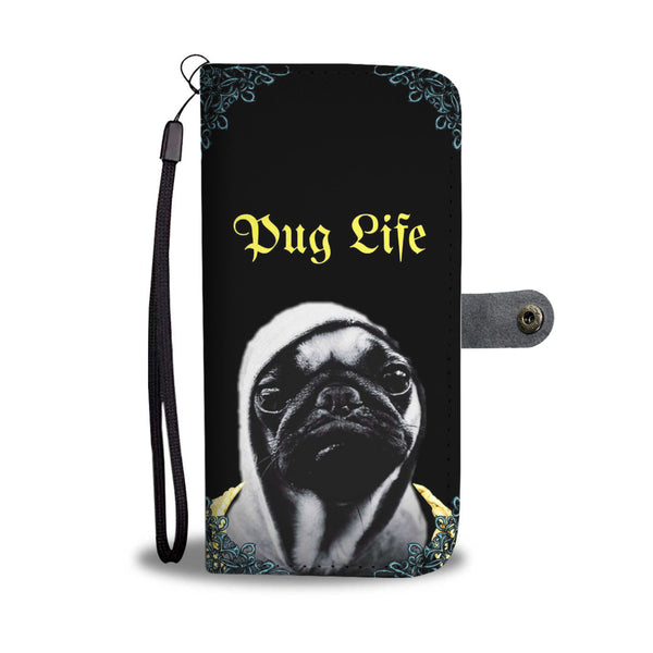 Pug Life Wallet Phone Case with Blue Border