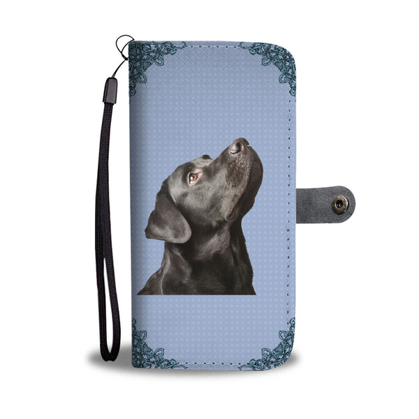 Cute Black Labrador Wallet Phone Case