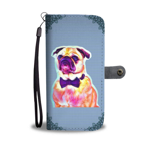Cute Pug Design Wallet Phone Case
