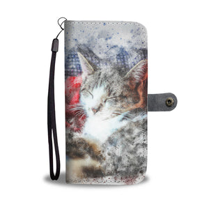 Watercolor Cats Design Wallet Phone Case