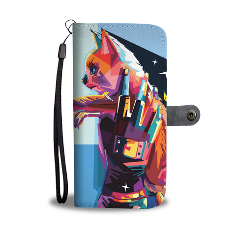 Anime Colorful Cat Wallet Phone Case