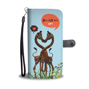 Giraffe Design Wallet Phone Case Butterflies