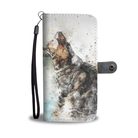 Watercolor Cat Design Wallet Phone Case