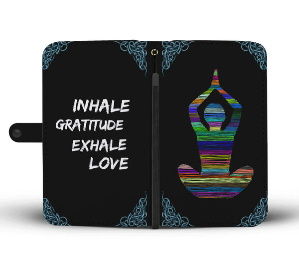 Colorful Yoga Design Wallet Phone Case