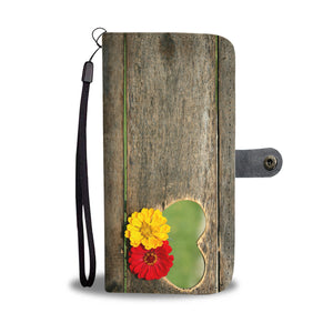 Wood Grain Heart Wallet Phone Case