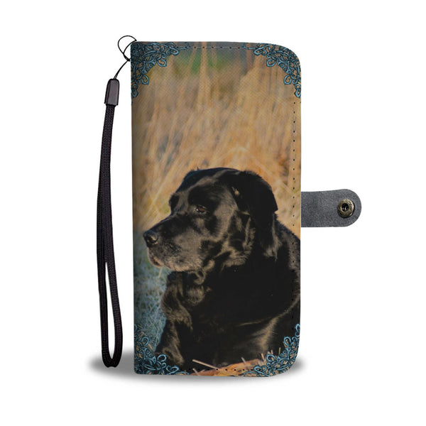 Black Labrador Print Wallet Phone Case
