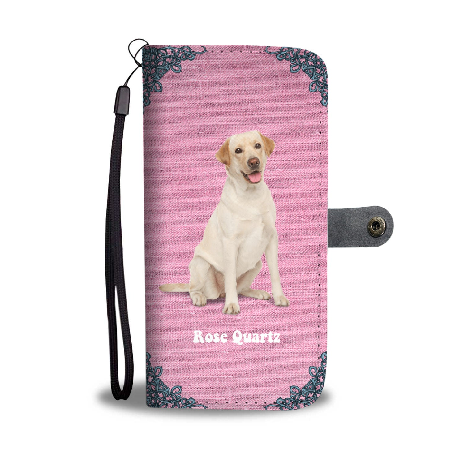 Yellow Lab Rose Quartz Custom Design Wallet Phone Case
