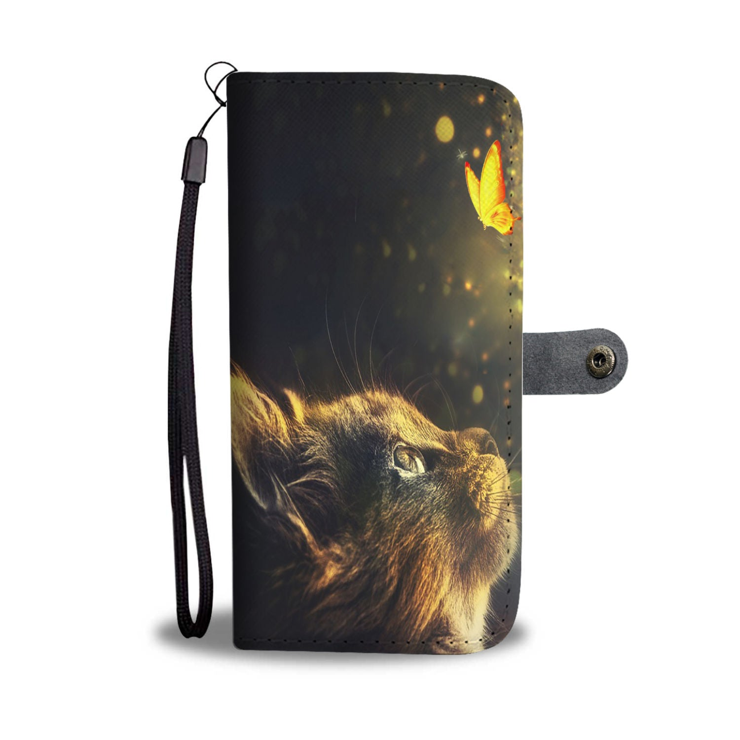 Cat and Butterfly Wallet Phone Case