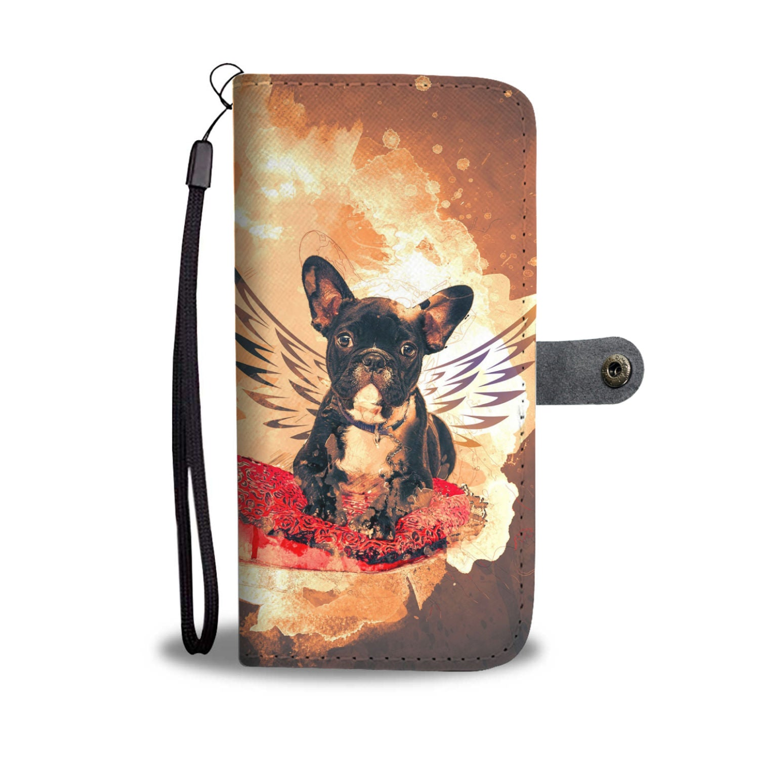 Black and White French Bulldog Wallet Phone Case