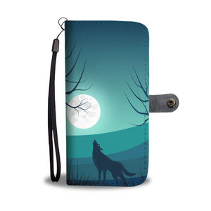 Wolf howling at the Moon Wallet Phone Case
