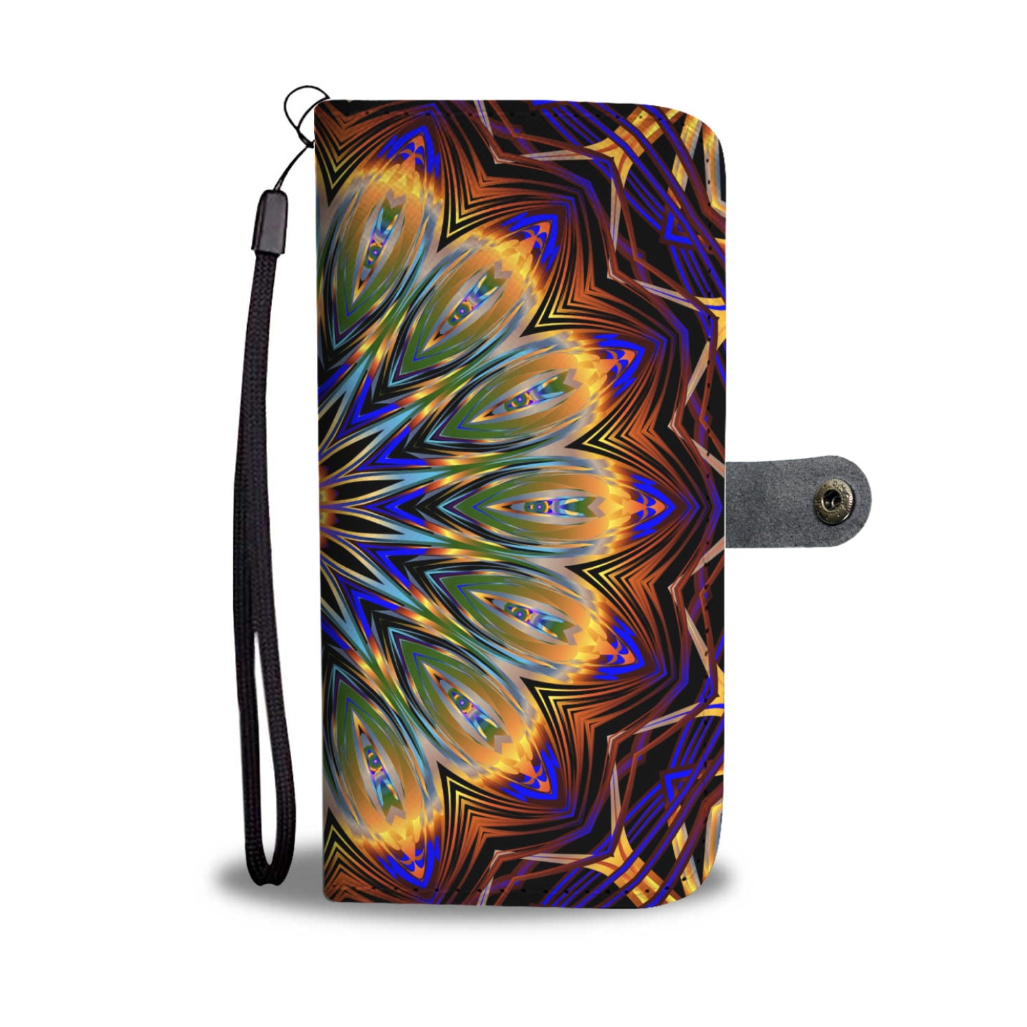 Awesome Mandala Print Wallet Phone Case