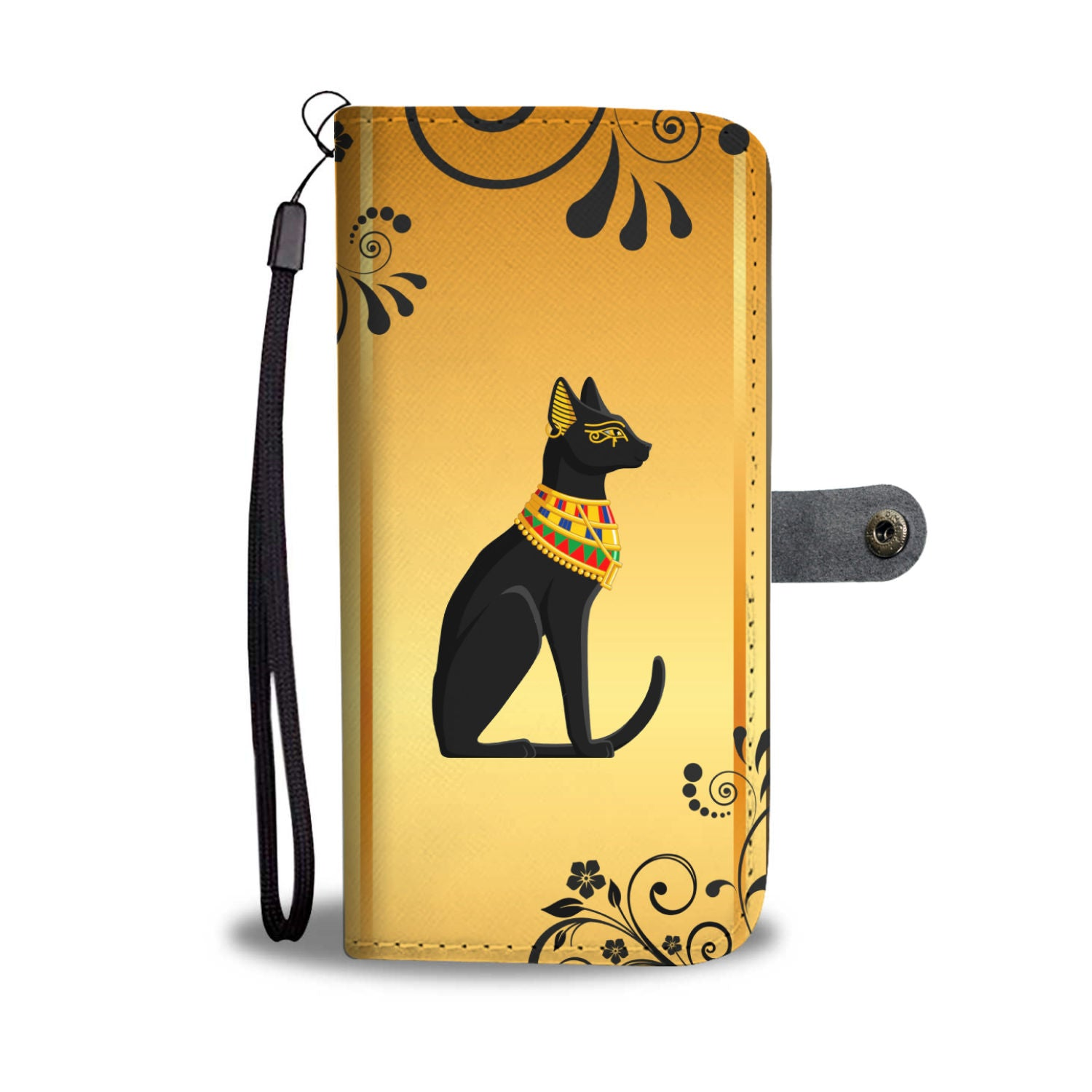 Egyptian Black Cat Wallet Phone Case