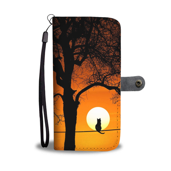 Cat Silhouette and Moon Wallet Phone Case