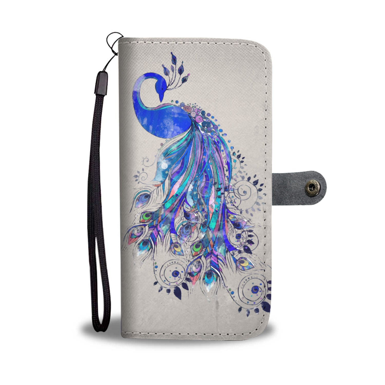 Blue Peacock Wallet Phone Case