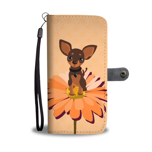 Cute Chihuahua on the Flower Wallet Phone Case