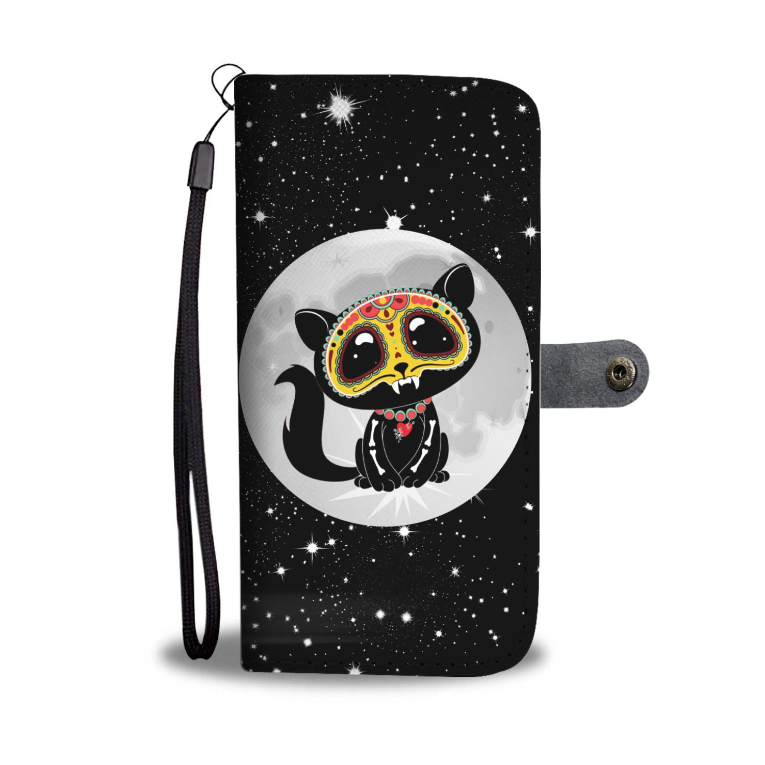Day of the Dead Cat Wallet Phone Case