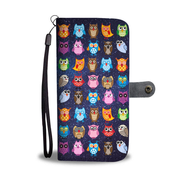 Colorful Owls on Starry Night Wallet Phone Case