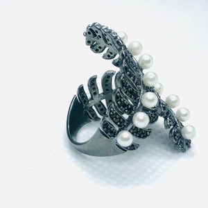 Silver Black Conifer Ring