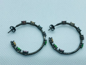 Silver Black Multi-Color In-Out Earrings