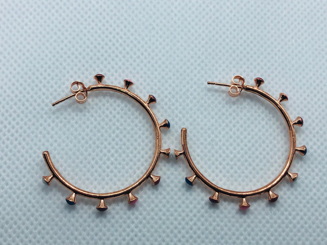 Outer Rose Gold Multi-Color Earrings