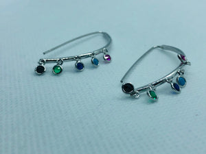 Silver Multi-Color Earrings
