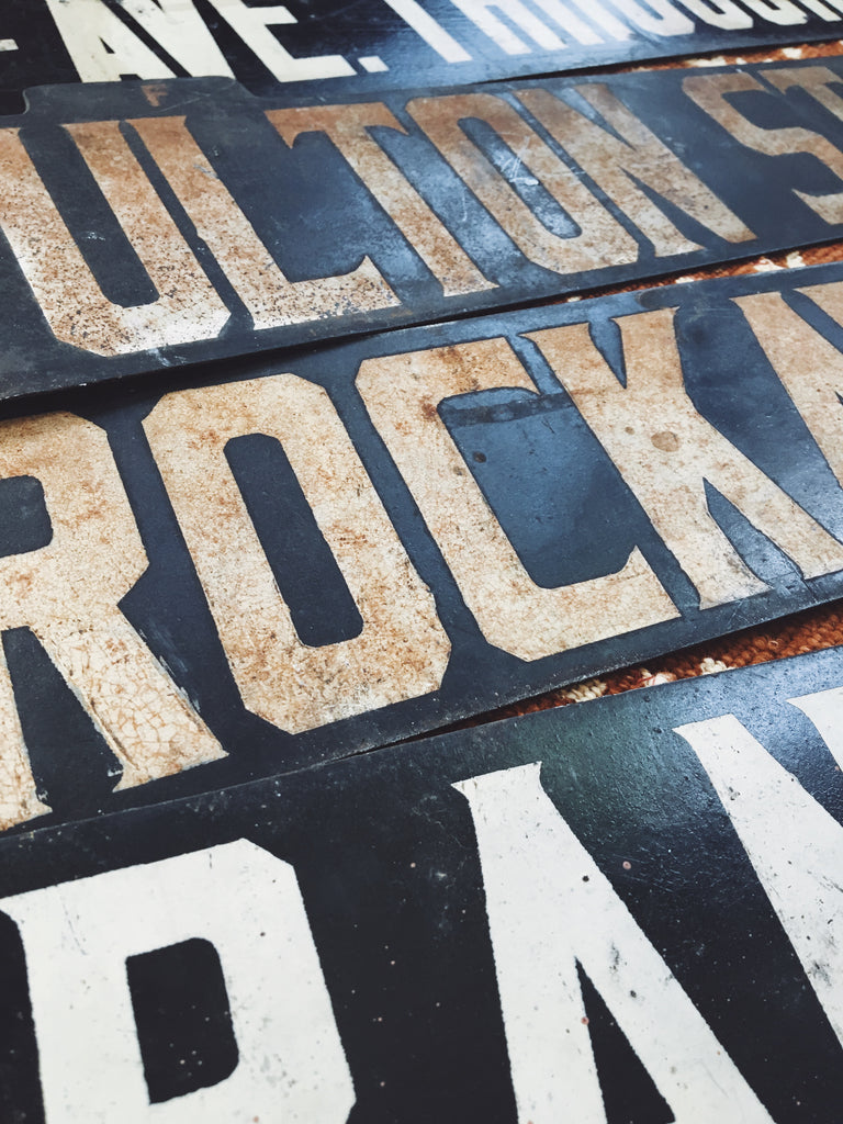 Vintage Brooklyn Rockaway Ave NYC Subway Double-Sided Sign (1910's)