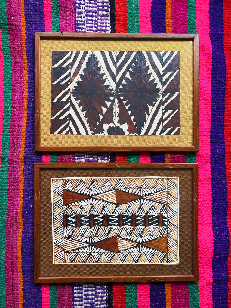 Vintage 1960's Framed Polynesian Ngatu Tapa Painted Cloth (Select)