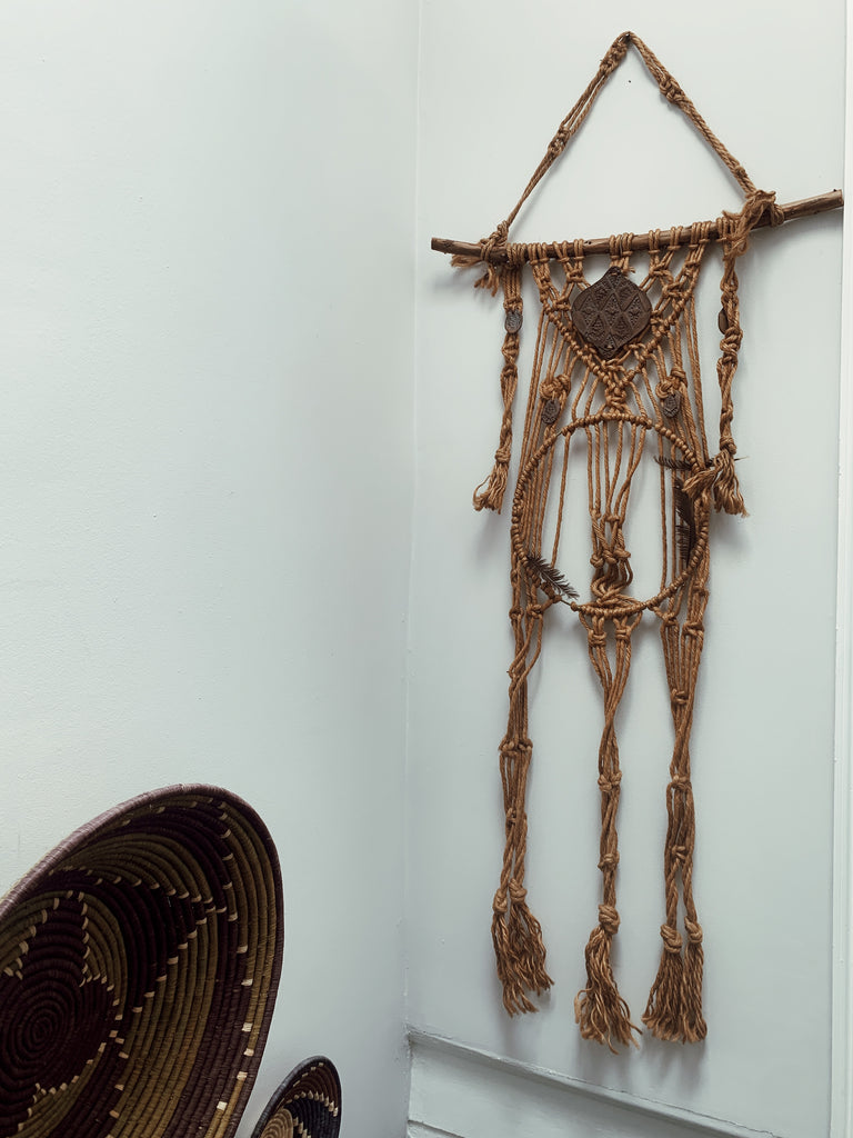 Vintage 1970's Woven Macrame Dreamcatcher Wall Hanging