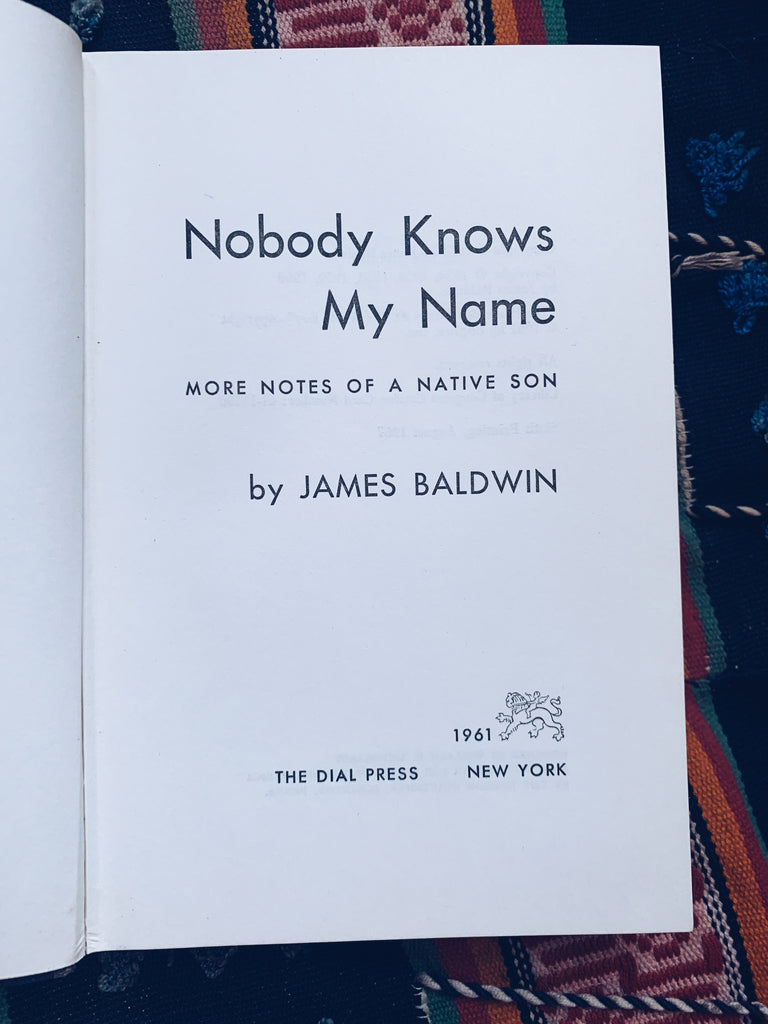 "Vintage Hardcover ""Nobody Knows My Name"" by James Baldwin (Sixth Printing, 1967)"