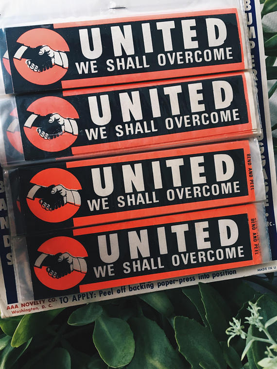 "Vintage 1960's 'We Shall Overcome"" Stickers"