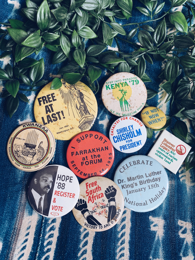 Vintage Afro-Liberation Political Pins (Please Select)