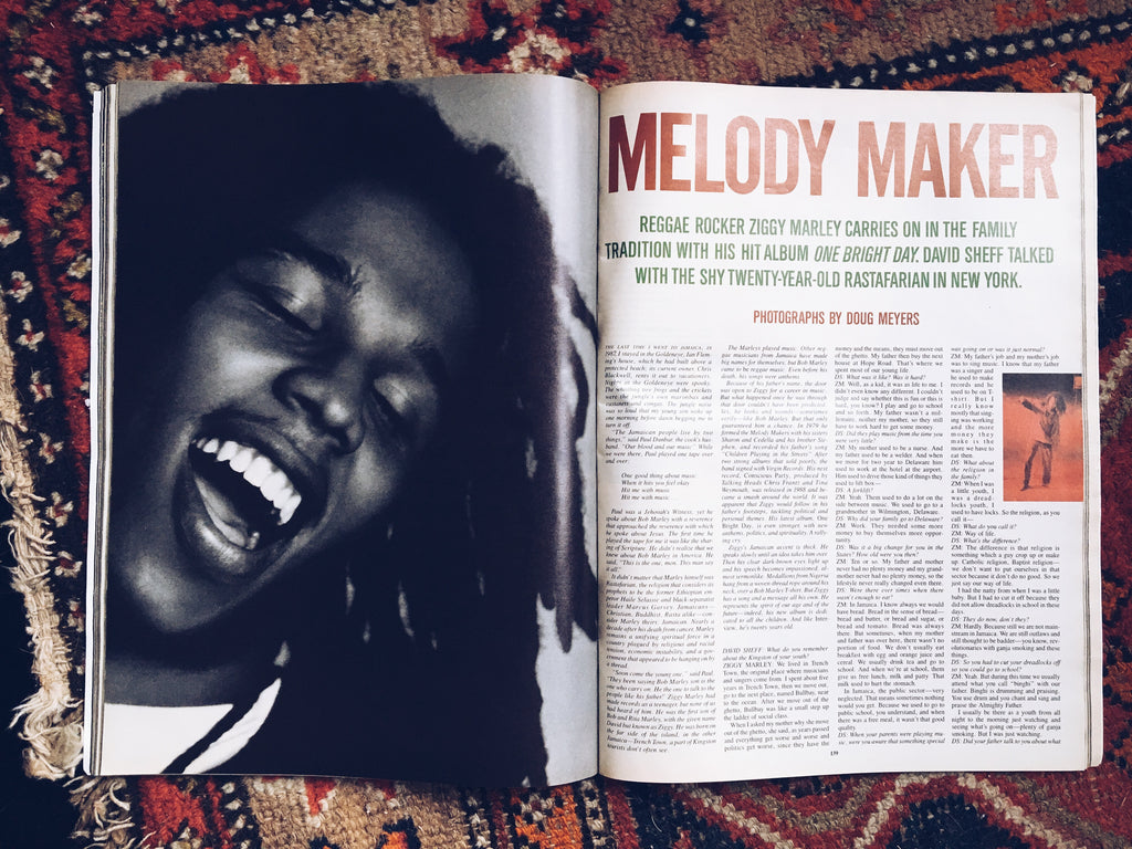 Vintage 1989 Interview Magazine // Ziggy Marley Cover Story