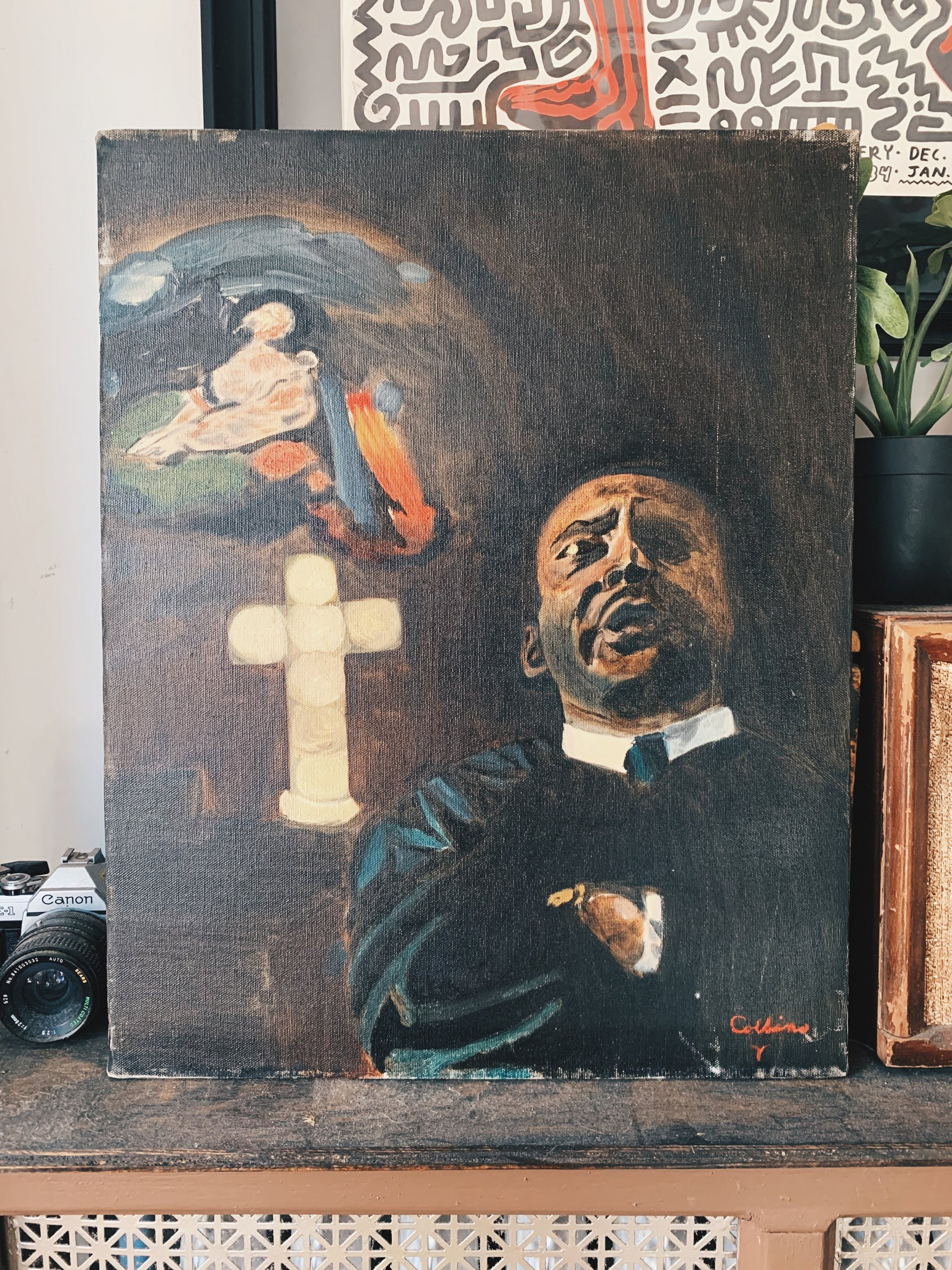 Vintage Dr. Martin Luther King Memorial Oil Painting