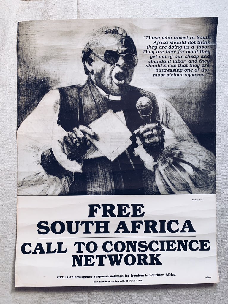 "Vintage ""Free South Africa"" Anti-Apartheid Poster"