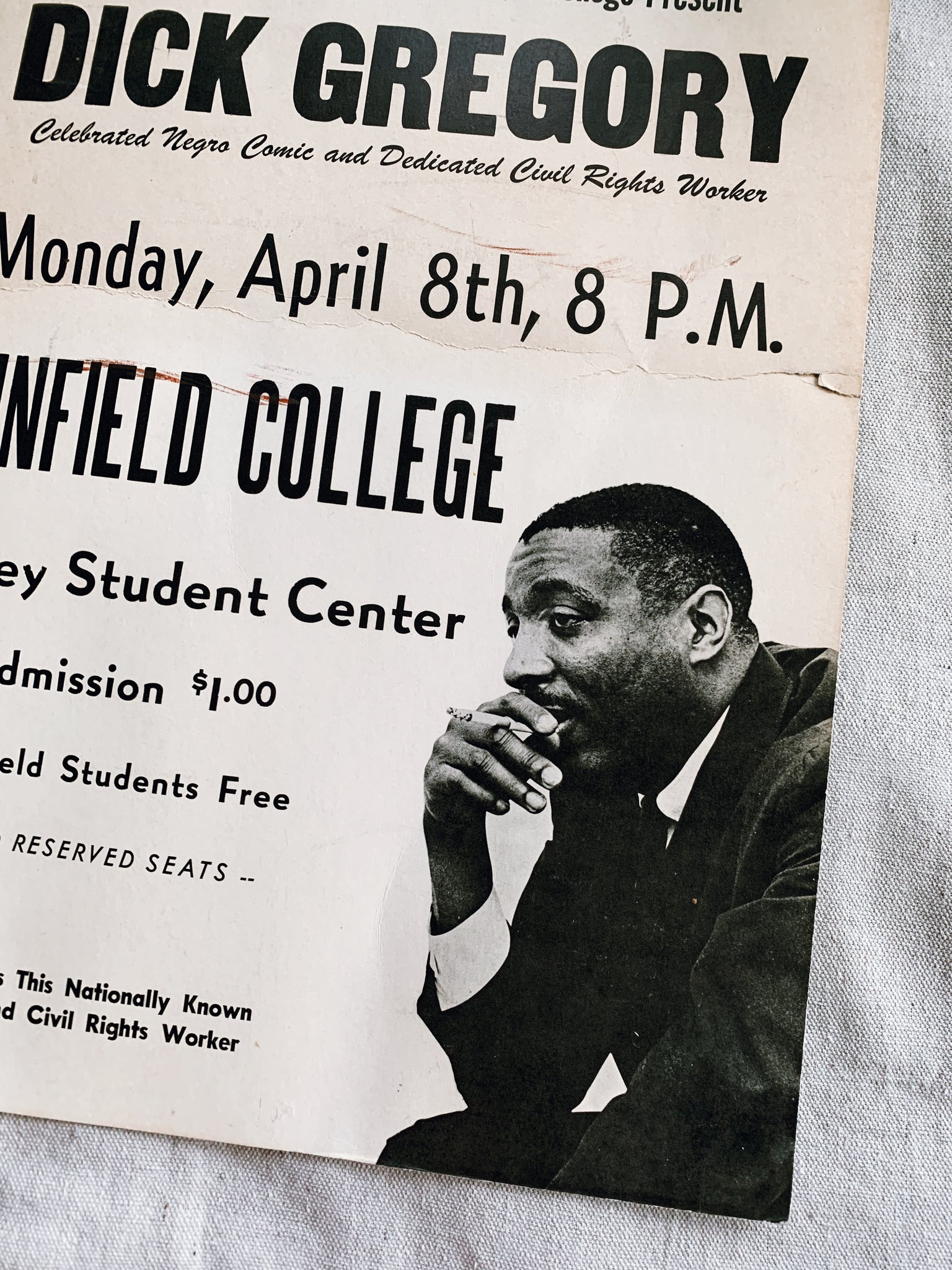 Vintage Rare Dick Gregory Linfield College Promotional Poster (Oregon, 1970's)