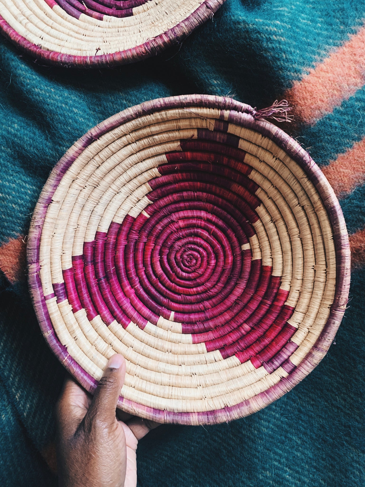 Vintage Woven Multicolor Large Bowl/Basket (Uganda)