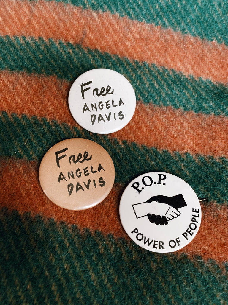 Vintage 1970's Free Angela Protest Pinback Button