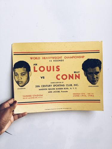Vintage Louis vs Conn Ring Magazine Boxing Poster