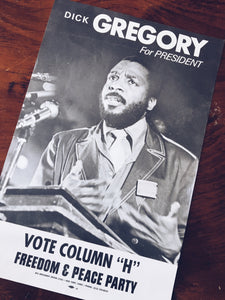 Vintage 1968 Dick Gregory Presidential Campaign Poster