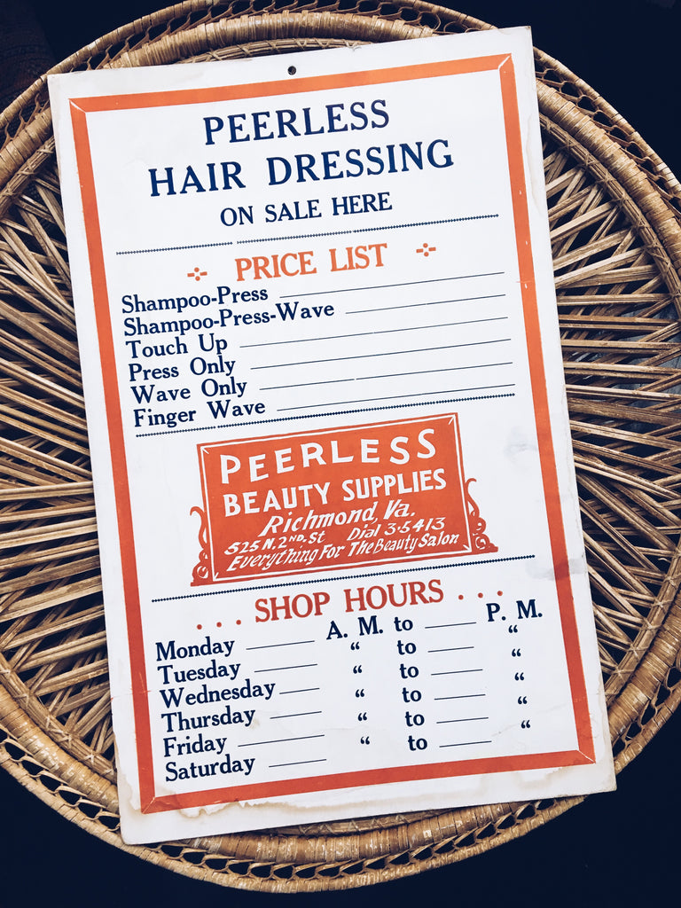 Vintage 1940's Peerless Beauty Supply/Hair Dresser Sign